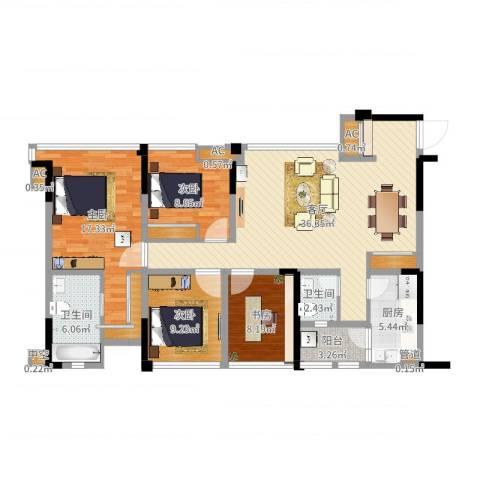 保利锦湖林语4室1厅2卫1厨128.00㎡户型图