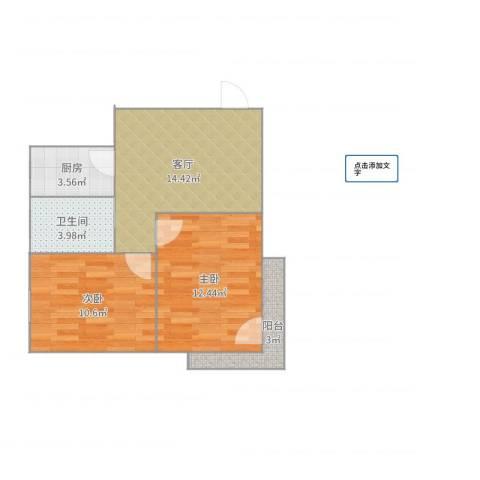 颛溪八村2室1厅1卫1厨60.00㎡户型图