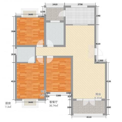 巴黎花苑3室2厅2卫1厨127.00㎡户型图