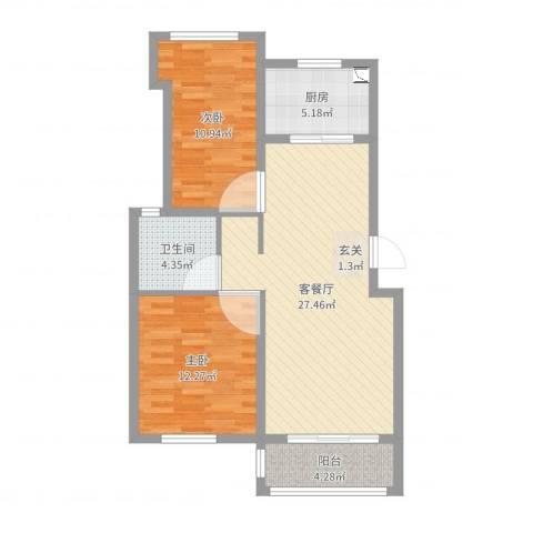 同城世家2室2厅1卫1厨81.00㎡户型图