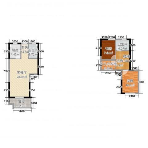 正荣财富中心2室2厅2卫1厨106.00㎡户型图