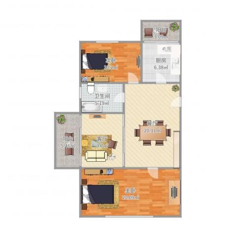 建业新村2室2厅1卫1厨100.00㎡户型图