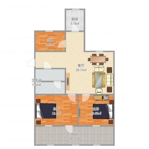 当代国际广场3室1厅1卫1厨104.00㎡户型图