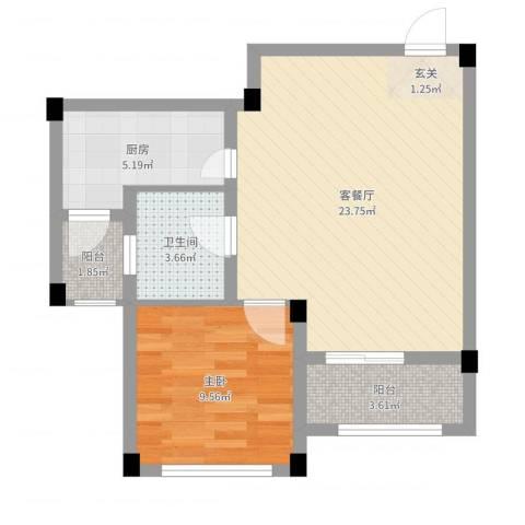 龙隐水庄1室2厅1卫1厨60.00㎡户型图