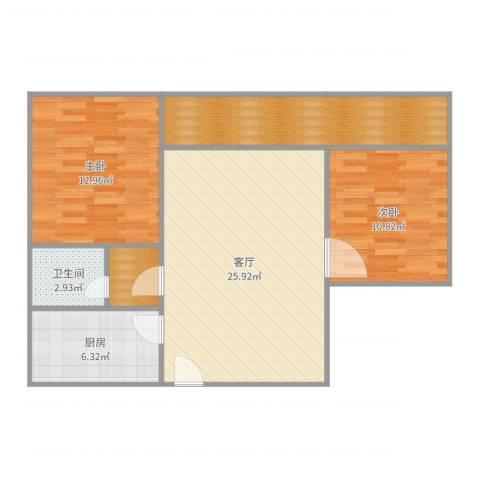 新威花园2室1厅1卫1厨88.00㎡户型图