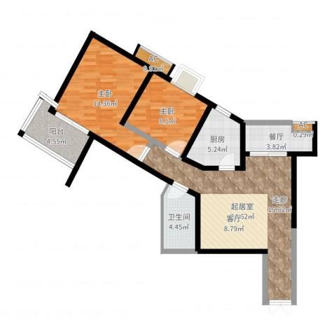 美立方2室1厅1卫1厨83.00㎡户型图