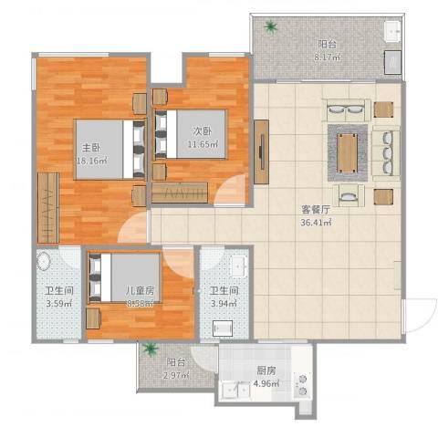 翠景湾3室2厅2卫1厨98.44㎡户型图