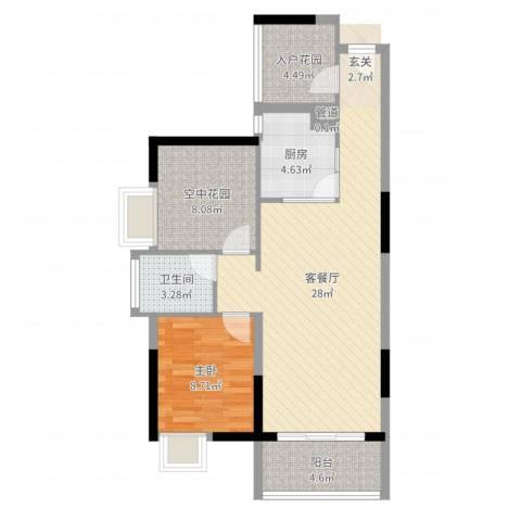锦地繁花1室2厅1卫1厨77.00㎡户型图