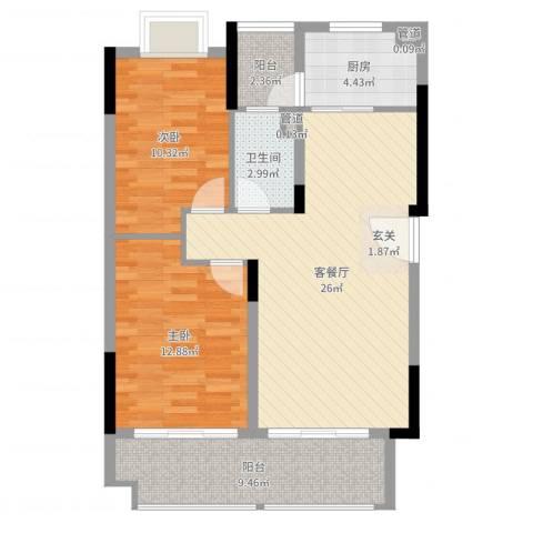 保利生态城2室2厅1卫1厨86.00㎡户型图