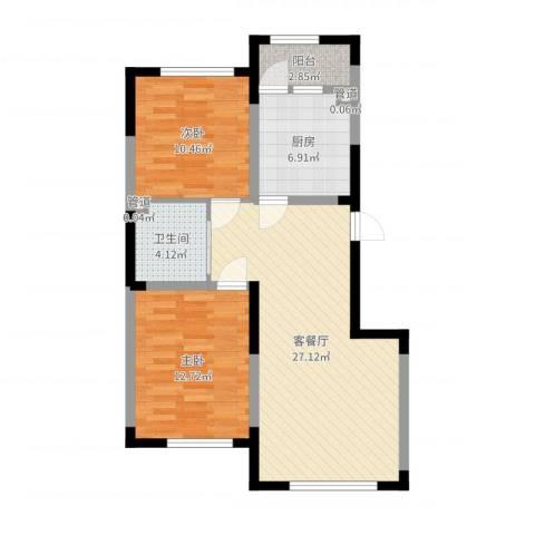 上东城市之光2室2厅1卫1厨80.00㎡户型图