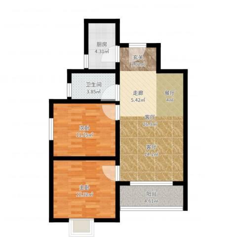 香缤国际城2室1厅1卫1厨79.00㎡户型图