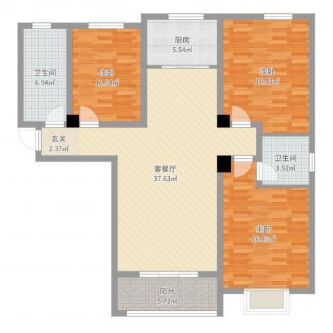 建兴桃园之家3室2厅2卫1厨129.00㎡户型图
