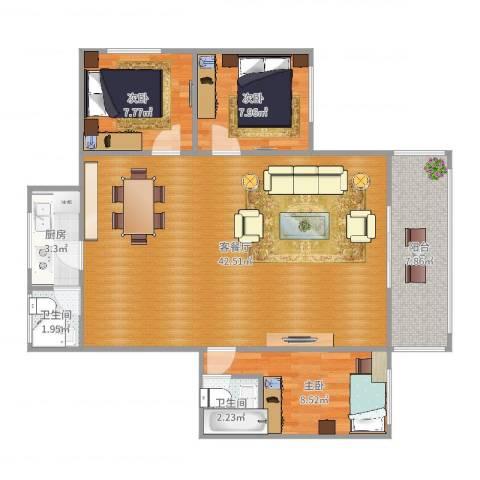 中南花园3室2厅2卫1厨103.00㎡户型图