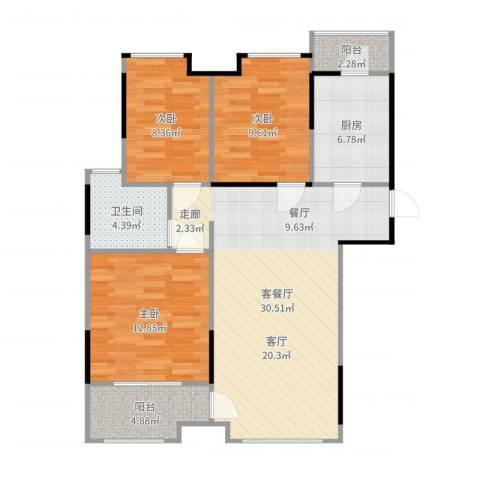 万科柏悦湾3室2厅1卫1厨100.00㎡户型图