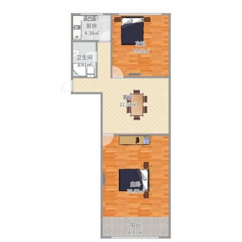 贝尔新村2室1厅1卫1厨95.00㎡户型图