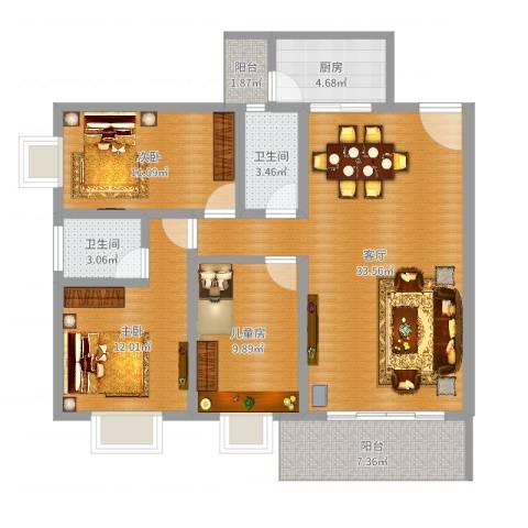 惠阳本因坊宝家园3室1厅2卫1厨109.00㎡户型图