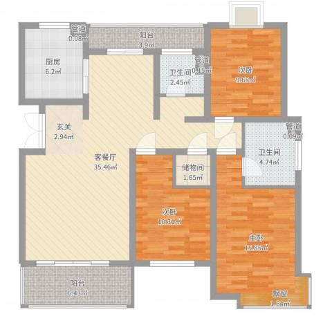 阳光乾城苑别墅3室2厅2卫1厨121.00㎡户型图