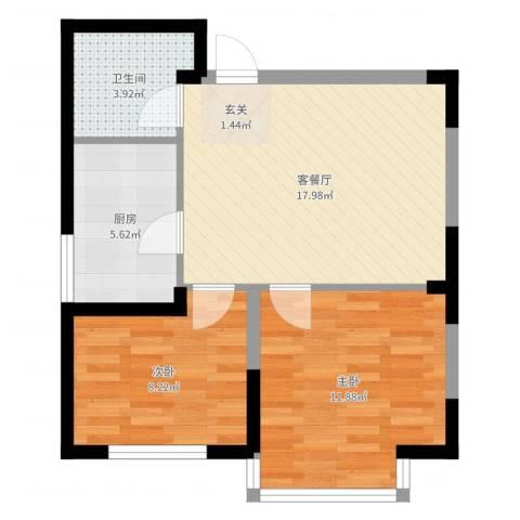 光明小区2室2厅1卫1厨60.00㎡户型图