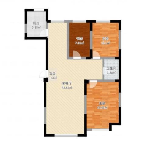 光明小区3室2厅1卫1厨107.00㎡户型图