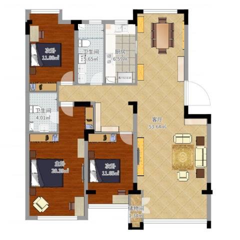 保利溪湖林语四期3室1厅2卫1厨144.00㎡户型图