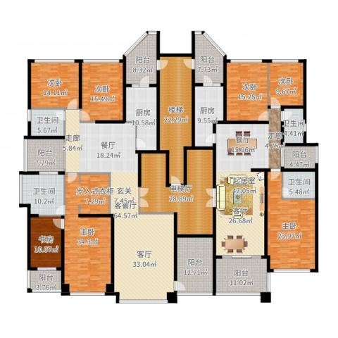 恒大华府7室2厅4卫2厨484.00㎡户型图