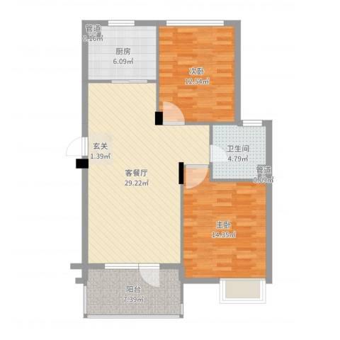 思明农行宿舍2室2厅1卫1厨93.00㎡户型图