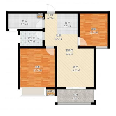 天骄华府2室2厅1卫1厨102.00㎡户型图