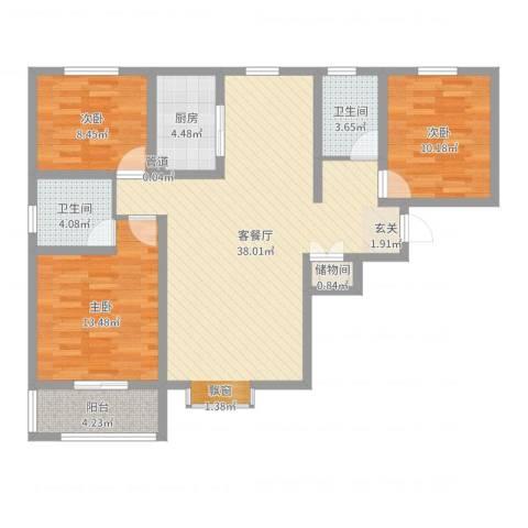 滨港龙湾3室2厅2卫1厨109.00㎡户型图
