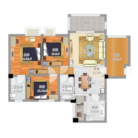 东方华尔街3室2厅2卫1厨129.00㎡户型图