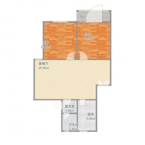 绿怡居西区2室4厅1卫1厨89.00㎡户型图