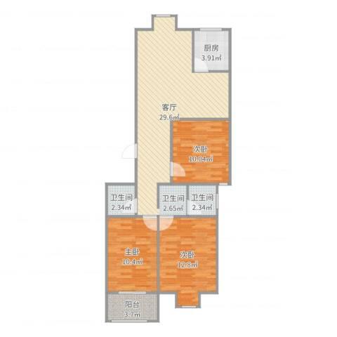 兴元嘉园3室1厅2卫1厨94.00㎡户型图
