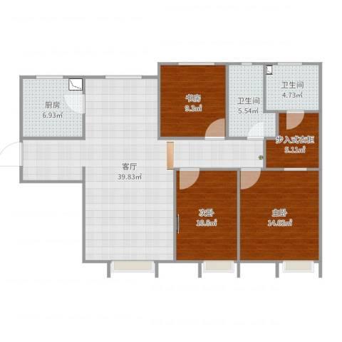 万科金域长春3室1厅2卫1厨120.00㎡户型图
