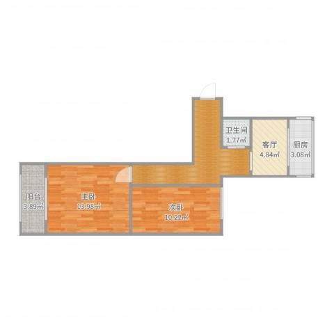 角门16号院2室1厅1卫1厨60.00㎡户型图