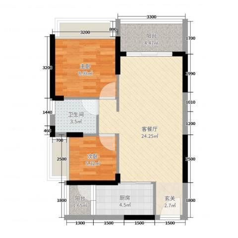 长盈翰林苑2室2厅1卫1厨70.00㎡户型图