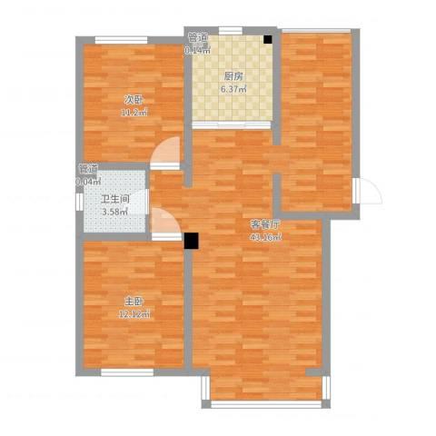 坤泰新界2室2厅1卫1厨96.00㎡户型图