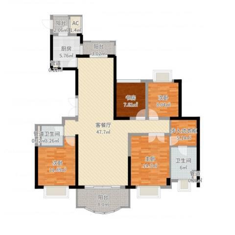 东城万达广场4室2厅2卫1厨157.00㎡户型图