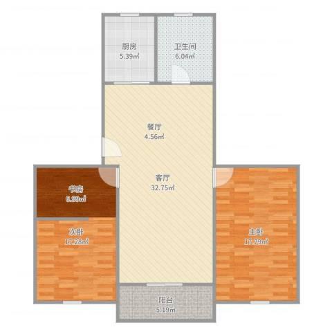 溢发公寓2室1厅1卫1厨106.00㎡户型图