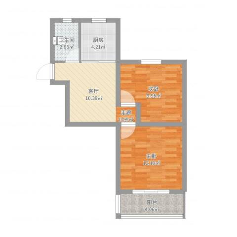 莘松六村2室1厅1卫1厨55.00㎡户型图