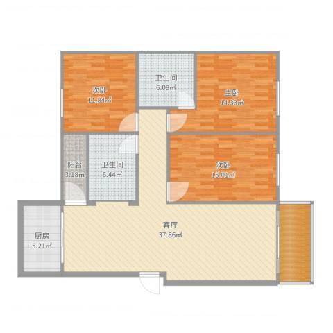 荷塘月色3室1厅2卫1厨131.00㎡户型图