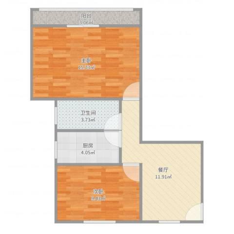莘松七村2室1厅1卫1厨60.00㎡户型图
