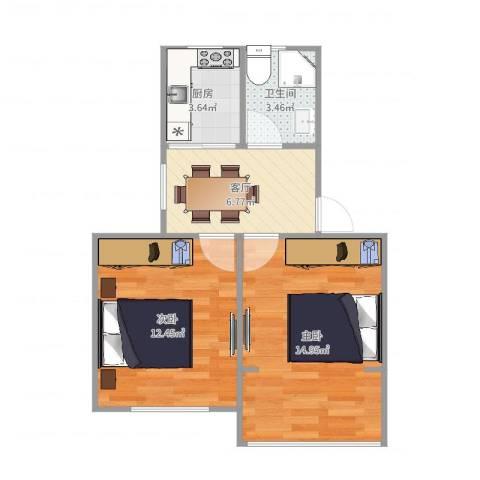 莘松七村2室1厅1卫1厨52.00㎡户型图