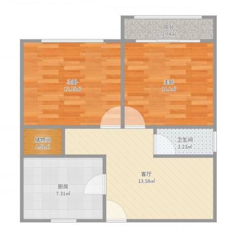 莘松五村2室1厅1卫1厨63.00㎡户型图