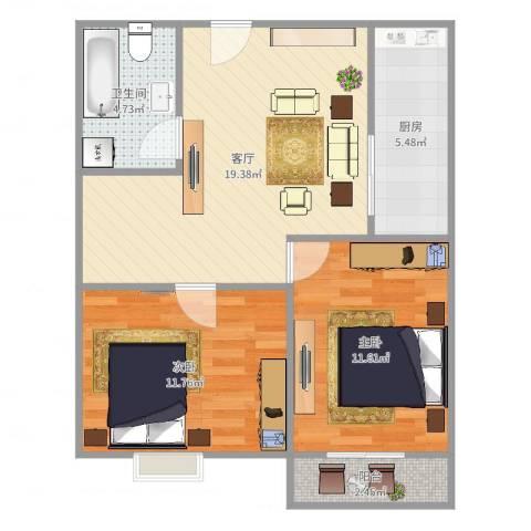 莘松五村-211-602室1厅1卫1厨69.00㎡户型图