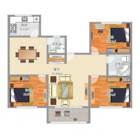 莘西路138弄小区3室1厅2卫1厨131.00㎡户型图