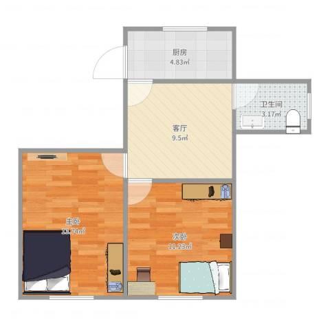 莘中新村46--2112室1厅1卫1厨53.00㎡户型图