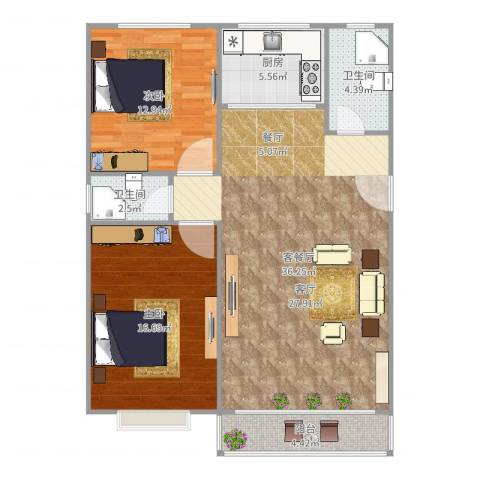 新金山花园88.5㎡2室2厅2卫1厨103.00㎡户型图