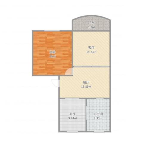 新金山花园1室2厅1卫1厨90.00㎡户型图