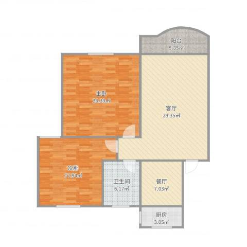 新金山花园2室2厅1卫1厨117.00㎡户型图