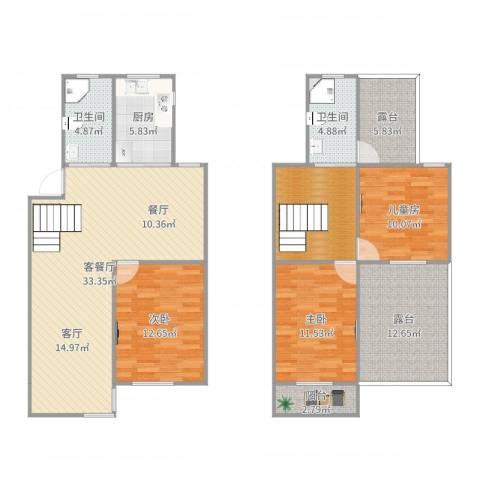 新金山花园3室2厅2卫1厨142.00㎡户型图
