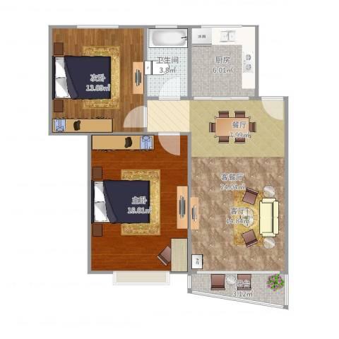 新金山花园73.052室2厅1卫1厨85.00㎡户型图